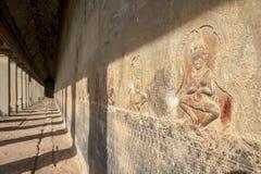 Ancient corridor at Angkor Wat Royalty Free Stock Photos