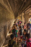 Ancient corridor at Angkor Wat Stock Photography
