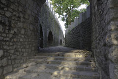 Ancient corridor on castle property Royalty Free Stock Photography