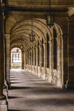 Ancient corridor. In front of the Santiago`s Cathedral, Spain royalty free stock photo