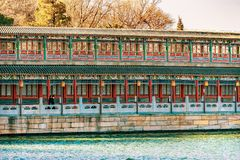 Ancient Corridor Jade Flower Island Beihai Lake Park Beijing Chi royalty free stock image