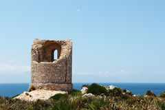 Ancient costal watchtower, capo rama, sicily Royalty Free Stock Images