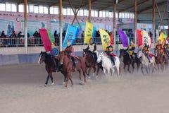 Ancient costume horsemanship performance. The ancient costume horsemanship performance is held in Minle Manor in Yuci, Shanxi, China Stock Photography
