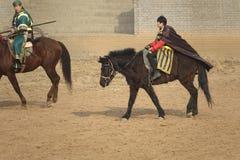 Ancient costume horsemanship performance. The ancient costume horsemanship performance is held in Minle Manor in Yuci, Shanxi, China Royalty Free Stock Image