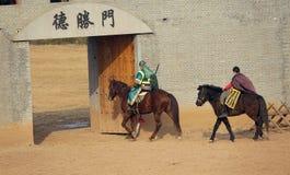 Ancient costume horsemanship performance. The ancient costume horsemanship performance is held in Minle Manor in Yuci, Shanxi, China Royalty Free Stock Photo