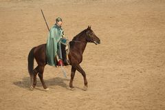 Ancient costume horsemanship performance. The ancient costume horsemanship performance is held in Minle Manor in Yuci, Shanxi, China Stock Photo