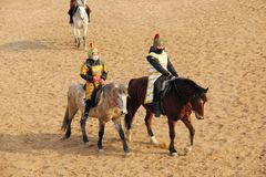 Ancient costume horsemanship performance. The ancient costume horsemanship performance is held in Minle Manor in Yuci, Shanxi, China Royalty Free Stock Photos