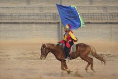 Ancient costume horsemanship performance. The ancient costume horsemanship performance is held in Minle Manor in Yuci, Shanxi, China Stock Images