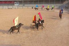 Horsemanship performance. The ancient costume horsemanship performance is held in Minle Manor in Yuci, Shanxi, China Royalty Free Stock Image