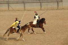 Horsemanship performance. The ancient costume horsemanship performance is held in Minle Manor in Yuci, Shanxi, China Stock Image