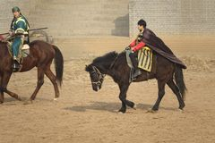 Horsemanship performance Stock Photo