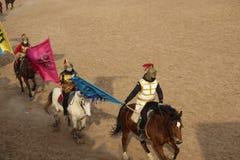 Horsemanship performance. The ancient costume horsemanship performance is held in Minle Manor in Yuci, Shanxi, China Stock Photography