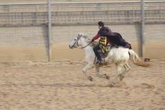 Horsemanship performance. The ancient costume horsemanship performance is held in Minle Manor in Yuci, Shanxi, China Royalty Free Stock Photography