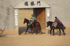 Horsemanship performance. The ancient costume horsemanship performance is held in Minle Manor in Yuci, Shanxi, China Stock Images