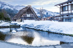 Ancient cottage in snow season Royalty Free Stock Photography