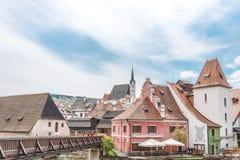 Ancient cozy European city. Cesky Krumlov, Southern Bohemia Royalty Free Stock Photos