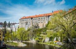 Ancient cozy European city on the Vltava River. Cesky Krumlov, Southern Bohemia Royalty Free Stock Photos