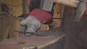 Ancient craft blacksmith stock video