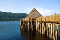 Ancient Crannog Loch Dwelling, Scotland stock photos