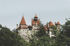 Ancient creepy castle Bran. Abode of Dracula in Transylvania, Romania Royalty Free Stock Image
