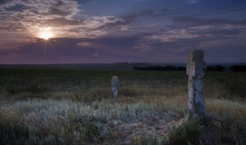 Ancient Cross at sunset Royalty Free Stock Images