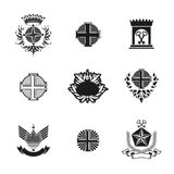 Ancient Crosses Crown Stars and flowers emblems set. Heraldic Co. At of Arms, vintage vector logos collection stock illustration