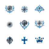 Ancient Crosses Crown Stars and flowers emblems set. Heraldic. Coat of Arms, vintage vector logos collection stock illustration
