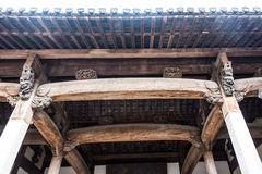 Ancient crossgirder. Sopraporta.This photo was taken in Longchuan scenic spot,Jixi County (in Anhui Province),china.Photo taken on:Jun 14th,2015 Royalty Free Stock Photo