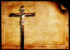 Ancient crucifix. Grunge paper with wooden ancient crucifix stock illustration