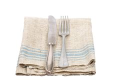 Ancient cutlery on linen Stock Photo