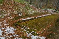 Ancient dacian road in Sarmizegetusa. Sarmizegetusa was the capital capital of the Dacian Empire. Today is a UNESCO World Heritage Site Stock Photos