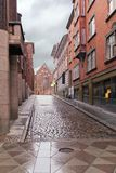 Ancient Danish street in Århus - Harald Skovbys Gade. City landscape design - decoration of the pedestrian part Stock Photography