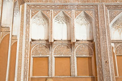 Ancient decorated facade wall in Yazd, Iran Royalty Free Stock Image
