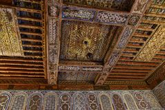 Ancient decorative wooden carved ceilings Marrakesh Morocco. Ancient Arabic decorative ceilings, wooden carvings, Bahia palace, Marrakesh Morocco royalty free stock photos