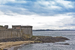 Ancient defensive walls in Saint-Malo. Royalty Free Stock Photos