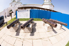 Ancient defensive weapons in Resurrection New Jerusalem Monastery Stock Photo