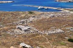 Ancient Delos in Greece. Delos island at the aegean sea in Greece Stock Image