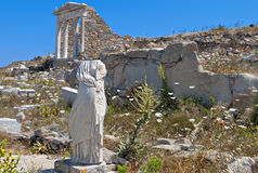Ancient Delos in Greece. Ancient temple of Isis at Delos island in Greece Royalty Free Stock Photo