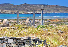 Ancient Delos Ruins, Greece. Ancient temple of Isis at Delos island in Greece Royalty Free Stock Photos