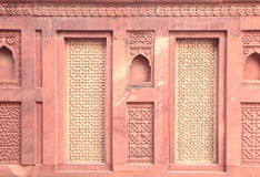 Ancient designer wall. Ancient wall of Red Fort, Agra, India Stock Photo