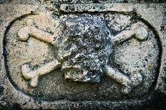 Ancient sculpture of a skull and crossed bones on a tomb in russian Joseph-Volotsky monastery. Ancient destroted terrible sculpture of a skull and crossed bones royalty free stock image