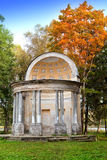 The ancient destroyed arbor in autumn park.Saint-Petersburg. Gatchina. Royalty Free Stock Photography