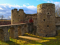 The ancient destroyed fortress in Koporye Stock Photography