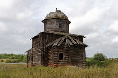 Ancient Destroyed Wooden Church In Northern Russian Village Stock Images
