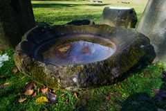Ancient device for stars and sky reading in  Sarmisegetuza. Astronomical ancient observer as a water bowl. Sarmizegetusa was the capital capital of the Dacian Royalty Free Stock Image