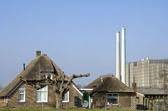 Ancient house and power plant, Zwolle Royalty Free Stock Photos