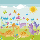 Ancient dinosaur. Colour illustration of baby ancient dinosaur Stock Image