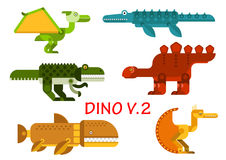 Ancient dinosaurs and reptiles flat icons Royalty Free Stock Photos