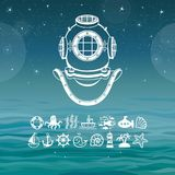 Ancient diving helmet. Set of sea icons. A background - ocean waves, the night star sky. Vector illustration Royalty Free Stock Photos
