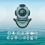 Ancient diving helmet. Set of sea icons. A background - ocean waves, the sky. Vector illustration Stock Photo